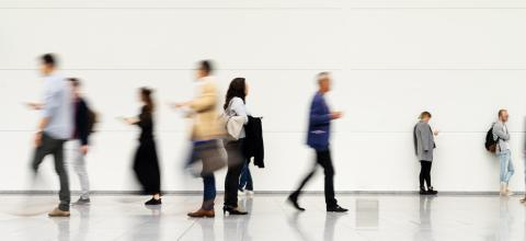 Anonymous blurred business people rush through trade fair hall or airport- Stock Photo or Stock Video of rcfotostock | RC-Photo-Stock