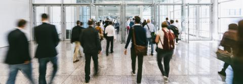 Anonymous blurred crowd on the go at a business trade fair- Stock Photo or Stock Video of rcfotostock | RC-Photo-Stock