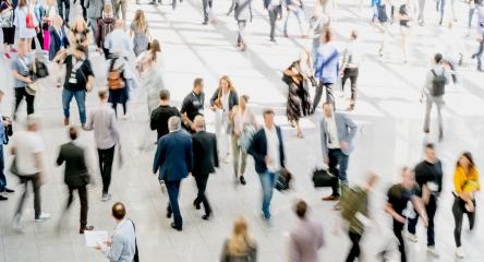 Anonymous blurred crowd on the go at a business trade fare : Stock Photo or Stock Video Download rcfotostock photos, images and assets rcfotostock | RC-Photo-Stock.:
