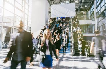 anonymous blurred people at a trade fair - Stock Photo or Stock Video of rcfotostock | RC-Photo-Stock