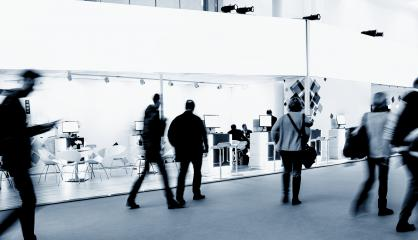 anonymous blurred people at a trade fair hall- Stock Photo or Stock Video of rcfotostock | RC-Photo-Stock