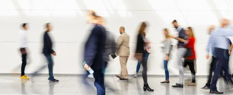 Anonymous business people hurry through trade fair hall - Stock Photo or Stock Video of rcfotostock | RC-Photo-Stock