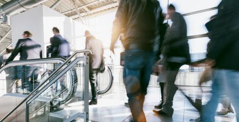anonymous crowd of blurred people rushing on escalators- Stock Photo or Stock Video of rcfotostock | RC-Photo-Stock