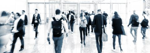Anonymous Crowd of business people walking at a corridor- Stock Photo or Stock Video of rcfotostock | RC-Photo-Stock