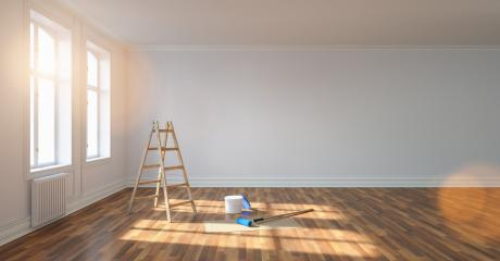 apartment Room after renovation with ladder and paint bucket. Empty white wall, banner size, panorama, with copyspace for your individual text. : Stock Photo or Stock Video Download rcfotostock photos, images and assets rcfotostock | RC-Photo-Stock.:
