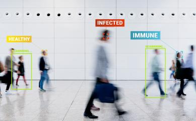 App scanning and tracking blurred people for Coronavirus prevention in the city - Software against Covid-19 outbreak - Big data, privacy, immune, healthy and infected concept - Defocused photo- Stock Photo or Stock Video of rcfotostock | RC-Photo-Stock