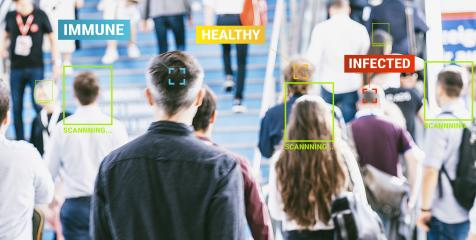 App scanning and tracking blurred people for Covid-19 prevention in the city - Software against Coronavirus outbreak - Big data, privacy, immune, healthy and infected concept - Defocused photo- Stock Photo or Stock Video of rcfotostock | RC-Photo-Stock