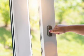 arm open white plastic window with garden view- Stock Photo or Stock Video of rcfotostock | RC-Photo-Stock