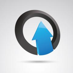arrow in a ring 3d vector icon as logo formation in black and blue glossy colors, Corporate design. Vector illustration. Eps 10 vector file.- Stock Photo or Stock Video of rcfotostock | RC-Photo-Stock