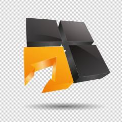 arrow in a window cube frame 3d vector icon as logo formation in black and orange glossy colors, Corporate design on checked transparent background. Vector illustration. Eps 10 vector file.- Stock Photo or Stock Video of rcfotostock | RC-Photo-Stock