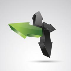 arrows 3d vector icon as logo formation in black and green glossy colors, Corporate design. Vector illustration. Eps 10 vector file.- Stock Photo or Stock Video of rcfotostock | RC-Photo-Stock