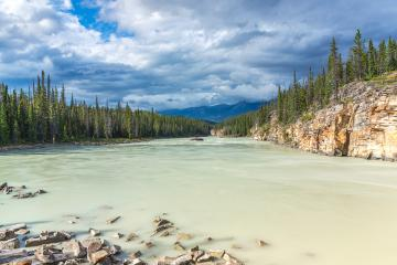 Athabasca Falls and River in Alberta, Canada; Lower Canyon and Valley : Stock Photo or Stock Video Download rcfotostock photos, images and assets rcfotostock | RC-Photo-Stock.: