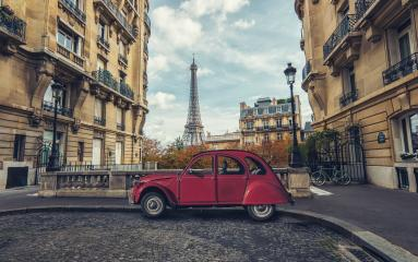 Avenue de Camoens in Paris with red retro car- Stock Photo or Stock Video of rcfotostock | RC-Photo-Stock