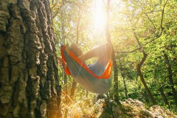 backpacker relaxing in the hammock in the forest : Stock Photo or Stock Video Download rcfotostock photos, images and assets rcfotostock | RC-Photo-Stock.:
