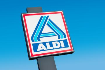 BAD PYRMONT, GERMANY OCTOBER, 2017: Aldi sign (north division) against blue sky. Aldi is a leading global discount supermarket chain with almost 10,000 stores in 18 countries.- Stock Photo or Stock Video of rcfotostock | RC-Photo-Stock