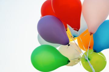Ballons birthday blue sky- Stock Photo or Stock Video of rcfotostock | RC-Photo-Stock