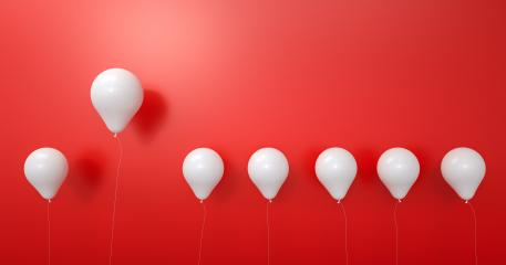 balloon between white balloons as challenge or leadership concept red background - 3D Rendering : Stock Photo or Stock Video Download rcfotostock photos, images and assets rcfotostock | RC-Photo-Stock.:
