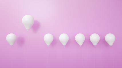 balloon between white balloons as challenge or leadership concept pink background - 3D Rendering : Stock Photo or Stock Video Download rcfotostock photos, images and assets rcfotostock | RC-Photo-Stock.: