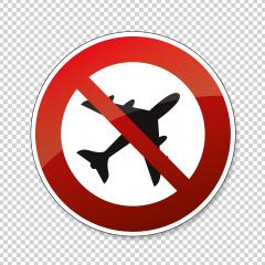 Ban flying. No flying zone, prohibition sign, on checked transparent background. Vector illustration. Eps 10 vector file.- Stock Photo or Stock Video of rcfotostock | RC-Photo-Stock