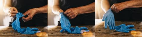 bartender or employee wearing a medical Latex gloves at work to prevent corona COVID-19 and SARS infection, collage, banner size- Stock Photo or Stock Video of rcfotostock | RC-Photo-Stock