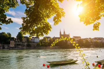Basel City summer view of the Old town of with red stone Munster architecture along Rhine River. Basel, Basel-Stadt, Switzerland.- Stock Photo or Stock Video of rcfotostock | RC-Photo-Stock