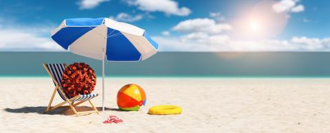 beach chair with Coronavirus coronavirus covid-19 epidemic flip-flop sandals next to a beach umbrella at the beach during a easter vacation in the Caribbean, with copyspace for your individual text.- Stock Photo or Stock Video of rcfotostock | RC-Photo-Stock