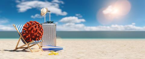 beach chair with Coronavirus coronavirus covid-19 epidemic on sand beach with business Suitcase, flip-flops and parasol at summer in sunlight, with copyspace for your individual text.- Stock Photo or Stock Video of rcfotostock | RC-Photo-Stock