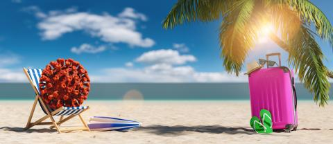 beach chair with Coronavirus coronavirus covid-19 epidemic on sand beach with Suitcase, Palm tree, flip-flops, parasol at summer in sunlight  : Stock Photo or Stock Video Download rcfotostock photos, images and assets rcfotostock | RC-Photo-Stock.: