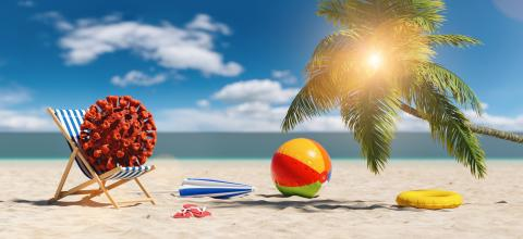 beach chair with Coronavirus coronavirus covid-19 epidemic with beach ball flip-flop sandals, beach umbrella under a palm tree at the beach during a summer vacation in the Caribbean- Stock Photo or Stock Video of rcfotostock | RC-Photo-Stock
