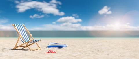 Beach chair with flip-flops and umbrella on empty sand. Beach with blue sky in summer as vacation, copy space for individual textconcept - Stock Photo or Stock Video of rcfotostock | RC-Photo-Stock