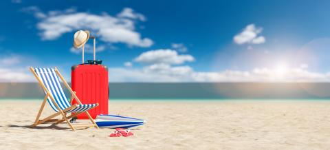 beach chair with suitcase and flip-flops on empty sand at the beach under blue sky. copyspace for your individual text.- Stock Photo or Stock Video of rcfotostock | RC-Photo-Stock