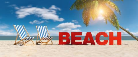 Beach concept with slogan on the beach with deckchairs, Palm tree and blue sky- Stock Photo or Stock Video of rcfotostock | RC-Photo-Stock