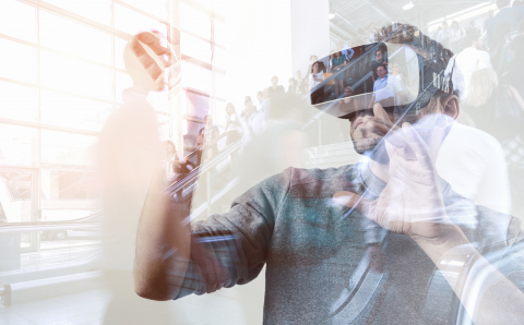 Bearded man wearing virtual reality goggles in modern business center. Gaming with with VR headset.- Stock Photo or Stock Video of rcfotostock | RC-Photo-Stock