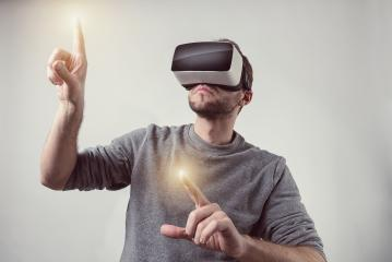 Bearded man wearing Virtual Reality VR Headset gaming goggles- Stock Photo or Stock Video of rcfotostock | RC-Photo-Stock