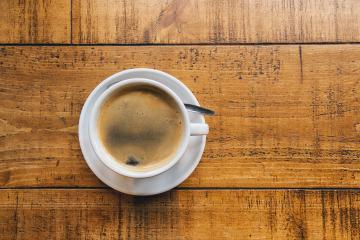 beautiful cup of cappuccino on a wooden  table, copy space for individual text- Stock Photo or Stock Video of rcfotostock | RC-Photo-Stock