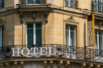beautiful old hotel sign in paris- Stock Photo or Stock Video of rcfotostock | RC-Photo-Stock