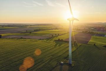 Beautiful sunset above the windmills on the field- Stock Photo or Stock Video of rcfotostock | RC-Photo-Stock