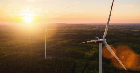 Beautiful sunset above the windmills on the forest- Stock Photo or Stock Video of rcfotostock | RC-Photo-Stock