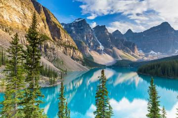 Beautiful turquoise waters of the Moraine lake with snow-covered rocky mountains in Banff National Park of Canada panorma : Stock Photo or Stock Video Download rcfotostock photos, images and assets rcfotostock | RC-Photo-Stock.: