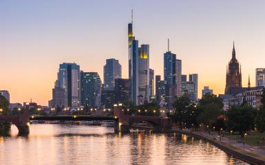 Beautiful view of the financial district at Frankfurt am Main at sunset, Germany - Stock Photo or Stock Video of rcfotostock | RC-Photo-Stock