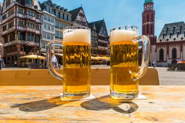 beer garden in frankfurt City, at the Romerberg square - Stock Photo or Stock Video of rcfotostock | RC-Photo-Stock