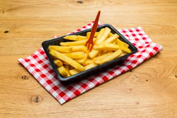 Belgian fries in a black shell with fork- Stock Photo or Stock Video of rcfotostock | RC-Photo-Stock