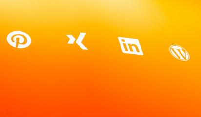 BERLIN, GERMANY JULY 2019: Popular social media icons such as: linkedin, xing, wordpress, pinterest, printed on orange paper.- Stock Photo or Stock Video of rcfotostock | RC-Photo-Stock