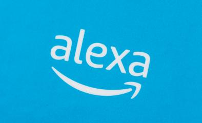 BERLIN, GERMANY JUNE 2020: Amazon Alexa logo on a blue parcel background. Amazon's Echo Dot, Alexa is a virtual assistant Smart Home Echo Voice Service from Amazon.- Stock Photo or Stock Video of rcfotostock | RC-Photo-Stock