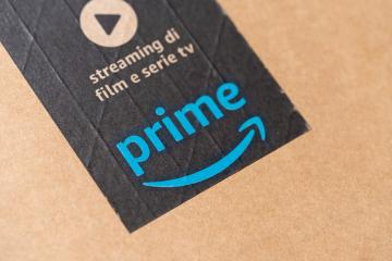 BERLIN, GERMANY JUNE 2020: Amazon prime label on a printed on a cardboard. Prime is a service offered by online retailer Amazon for faster delivery of orders.- Stock Photo or Stock Video of rcfotostock | RC-Photo-Stock