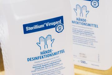BERLIN, GERMANY MARCH 15, 2020: A pharmacy storage room storing Hands sterilization materials Sterillium Virugard in order to avoid Corona epidemic. To prevent corona virus COVID-19.- Stock Photo or Stock Video of rcfotostock | RC-Photo-Stock