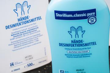BERLIN, GERMANY MARCH 15, 2020: Two bottles hand disinfectant Sterillium Virugard. To prevent corona virus COVID-19 infection.- Stock Photo or Stock Video of rcfotostock | RC-Photo-Stock