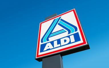 BERLIN, GERMANY OCTOBER, 2017: Aldi sign (north division) against blue sky. Aldi is a leading global discount supermarket chain with almost 10,000 stores in 18 countries.- Stock Photo or Stock Video of rcfotostock | RC-Photo-Stock