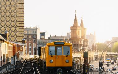 Berliner U-Bahn with Oberbaum Bridge in the background in golden evening light at sunset, , Capital of Germany : Stock Photo or Stock Video Download rcfotostock photos, images and assets rcfotostock | RC-Photo-Stock.: