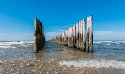 Between the two rows of poles of the breakwater against clear blue sky- Stock Photo or Stock Video of rcfotostock | RC-Photo-Stock